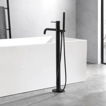 JTP Vos Freestanding Bath Shower Mixer Tap with Kit - Matt Black