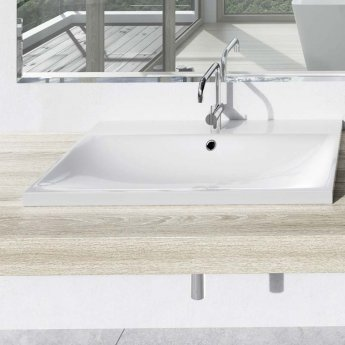 Kaldewei Silenio Inset Countertop Basin 600mm Wide 1 Tap Hole