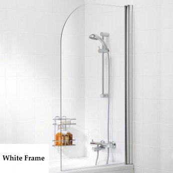 Signature Contract Single Panel White Framed Curved Bath Screen 1400mm H x 800mm W - 6mm Glass