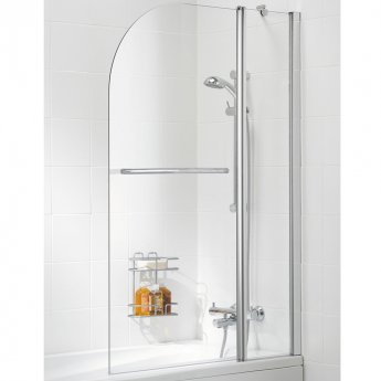 Signature Contract Double Panel Curved Bath Screen with Towel Rail 1400mm H x 975mm W -6mm Glass