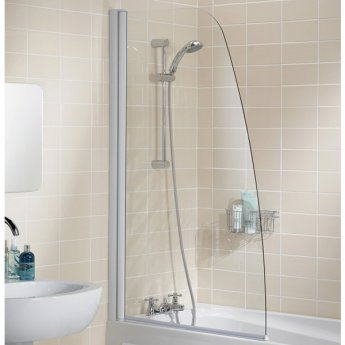 Signature Contract Single Panel Sculpted Bath Screen 1400mm H x 860mm W - 6mm Glass