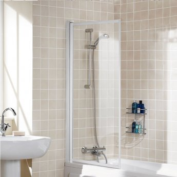 Signature Contract Single Panel Silver Framed Bath Screen 1400mm H x 760mm W - 4mm Glass