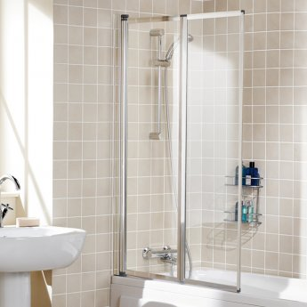 Signature Contract Double Panel Silver Framed Bath Screen 1400mm H x 950mm W - 4mm Glass