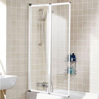 Signature Contract Double Panel White Framed Bath Screen 1400mm H x 950mm W - 4mm Glass