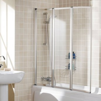 Signature Contract Triple Panel White Framed Bath Screen 1400mm H x 1390mm W - 4mm Glass