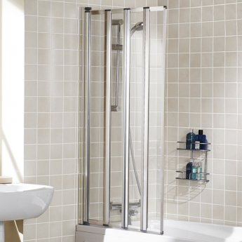 Signature Contract Four Panel Silver Framed Bath Screen 1400mm H x 730mm W - 4mm Glass