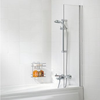 Lakes Classic Shower Curtain Panel Bath Screen 1500mm H x 300mm W - Silver