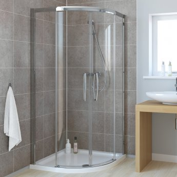 Lakes Classic Low Threshold Quadrant Double Sliding Shower Enclosure 800mm x 800mm - 8mm Glass