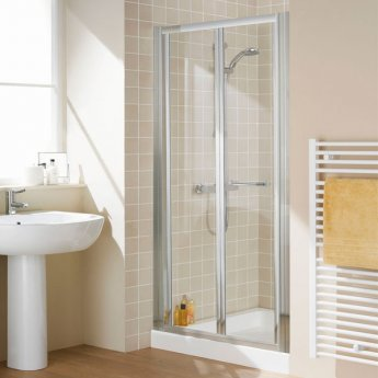 Lakes Classic Bi-Fold Shower Door 1850mm H x 900mm W - Silver