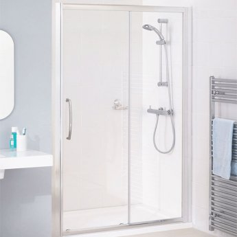 Lakes Classic Semi Frameless Slider Shower Door 1850mm H x 1000mm W - Silver