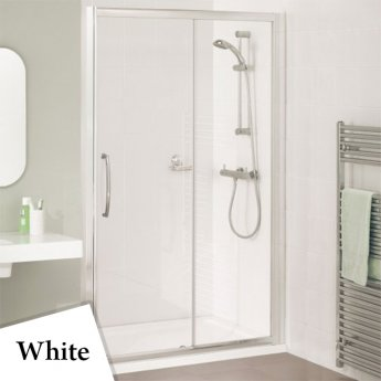 Lakes Classic Semi Frameless Sliding Shower Door 1850mm H x 1600mm W - White Frame
