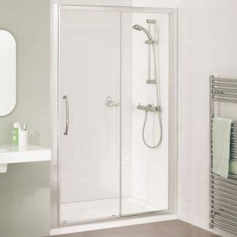 Lakes Classic Semi Frameless Sliding Shower Door 1850mm H x 1300mm W - Silver Frame