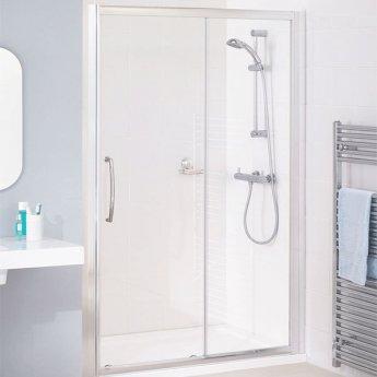 Lakes Classic Semi Frameless Slider Shower Door 1850mm H x 1100mm W - Silver