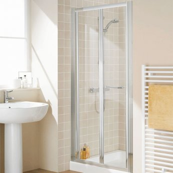 Lakes Classic Semi Frameless Bi-Fold Shower Door 1850mm H x 1000mm W - Silver