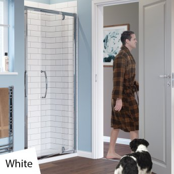 Lakes Classic Semi Frameless Pivot Shower Door 1850mm H x 800mm W - White Frame