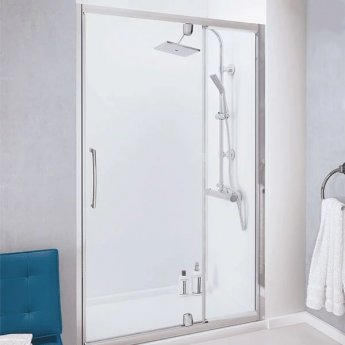Lakes Classic Semi Frameless Pivot Shower Door with Integrated In-Line Panel 1000mm Wide - Silver