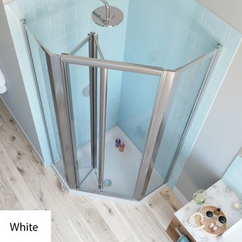 Lakes Classic Bi-Fold Door Pentagonal Shower Enclosure 900mm x 900mm with Shower Tray - White