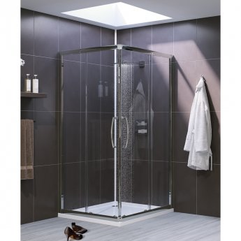 Lakes Classic Semi Frameless Corner Entry Shower Enclosure 750mm x 750mm - White Frame