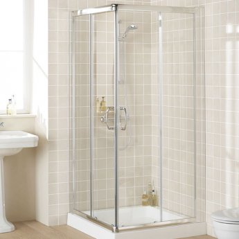 Lakes Classic Semi Frameless Corner Entry Shower Enclosure 1850mm H x 1000mm W - Silver