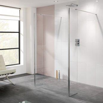 Lakes Coastline Riviera Walk-In Shower Panel 2000mm H x 1200mm W - 8mm Glass