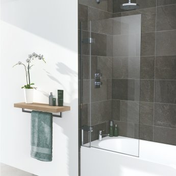Signature Contract Hinged Bath Screen 1500mm H x 1000mm W - 8mm Glass
