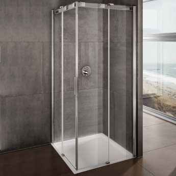 Lakes Italia Avanza Frameless Sliding Shower Door 2000mm H x 1200mm W - Right Handed Only