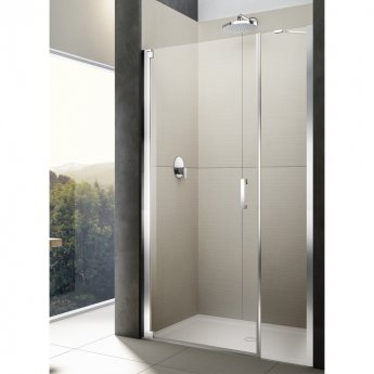 Lakes Italia Diletto Semi Frameless Wall Hinged Pivot Shower Door and In-Line Panel 2000mm H x 1600mm W - Left Handed