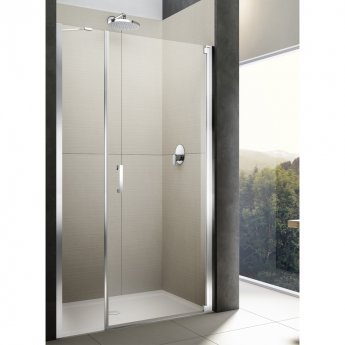 Lakes Italia Diletto Semi Frameless Wall Hinged Pivot Shower Door and In-Line Panel 2000mm H x 1400mm W - Right Handed