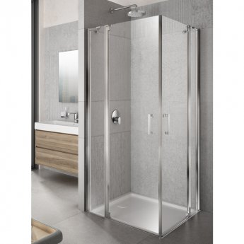 Lakes Italia Tempo Semi Frameless Pivot Door and In-Line Panel 2000mm H x 800mm W - Left Handed Only