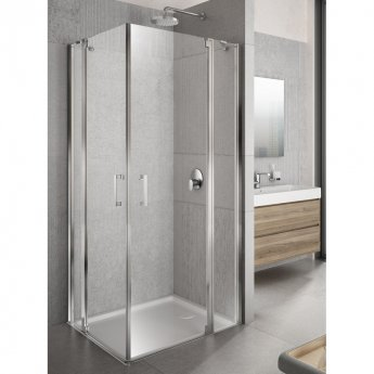 Lakes Italia Tempo Semi Frameless Pivot Door and In-Line Panel 2000mm H x 1200mm W - Right Handed Only