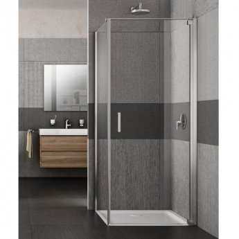 Lakes Italia Vivo Semi Frameless Pivot Shower Door 2000mm H x 900mm W - Right Handed