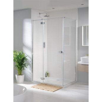 Lakes Tobago Shower Door with Hinged Panel 2000mm H x 1600mm W - 8mm Glass
