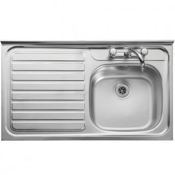 Leisure Contract Roll Front LC106LRF 1.0 Bowl Kitchen Sink LH Waste 1000mm L x 600mm W Stainless