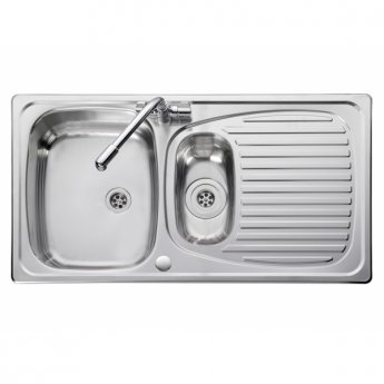 Leisure Euroline EL9502 1.5 Bowl Reversible Kitchen Sink with Waste 950mm L x 508mm W Stainless