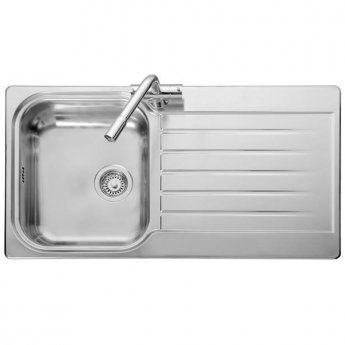 Leisure Seattle 1.0 Bowl Reversible Kitchen Sink with Waste 950mm L x 508mm W Polished Stainless