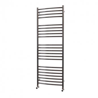 MaxHeat Camborne Curved Towel Rail, 1400mm High x 500mm Wide, Polished Stainless Steel