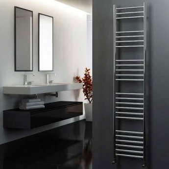 MaxHeat Camborne Curved Towel Rail, 1800mm High x 400mm Wide, Polished Stainless Steel