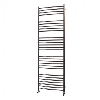 MaxHeat Camborne Curved Towel Rail, 1800mm High x 600mm Wide, Polished Stainless Steel