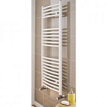MaxHeat MaxRail Curved Heated Towel Rail 1200mm H x 500mm W White