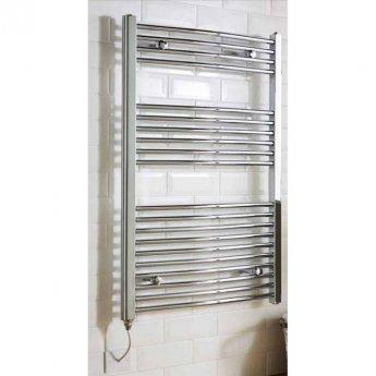 MaxHeat MaxRail Electric Curved Heated Towel Rail 800mm H x 500mm W Chrome