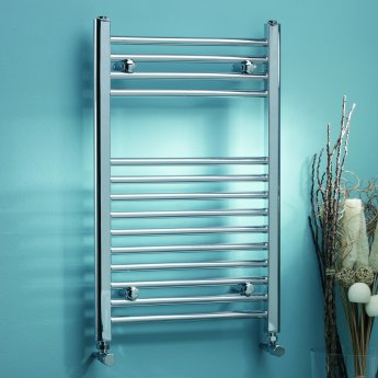 MaxHeat MaxRail Straight Heated Towel Rail 800mm H x 500mm W Chrome