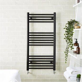 MaxHeat MaxRail Straight Heated Towel Rail 1200mm H x 600mm W - Black