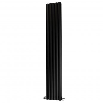 MaxHeat Saltash Double Designer Vertical Radiator 1800mm H x 290mm W Black