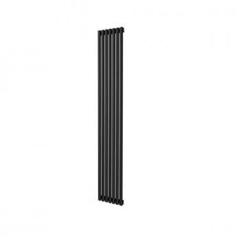 MaxHeat Saltash Single Vertical Radiator, 1600mm High x 406mm Wide, Black