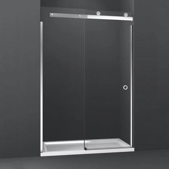 Merlyn 10 Series LH Sliding Shower Door with Tray 1700mm Wide - 10mm Clear Glass