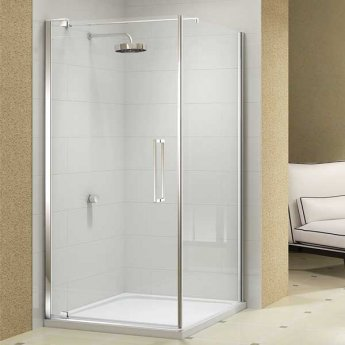 Merlyn 10 Series Pivot Shower Door with Tray 900mm Wide - Clear Glass