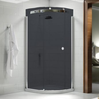 Merlyn 10 Series Single Quadrant Shower Enclosure with Tray 900mm x 900mm LH - Smoked Black Glass