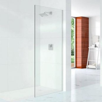 Merlyn 10 Series Wet Room Glass Panel with Wall Profile 1200mm Wide - 10mm Glass
