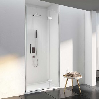 Merlyn 6 Series Frameless Inline Hinged Recess Shower Door 1000mm with Mstone Tray 1000mm 6mm Glass