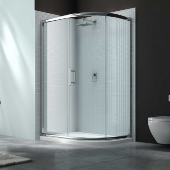 Merlyn 6 Series Single Offset Quadrant Shower Enclosure with Tray 900mm x 760mm RH - Clear Glass